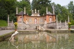 Fontane di trucco al castello di Hellbrunn (Salisburgo, Austria) Immagini Stock