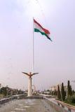 Fontane sul quadrato della bandiera nazionale del Tagikistan Dush Fotografia Stock Libera da Diritti