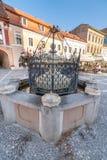Fontanella sul quadrato centrale del Brasov rumeno immagini stock