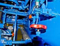 Fontanería industrial del compresor Imagen de archivo libre de regalías