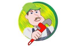Fontanero con su llave de tubo imagen de archivo
