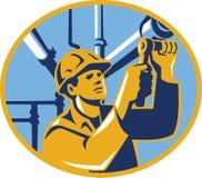 Fontanero del trabajador del gas del mantenimiento de Pipefitter ilustración del vector