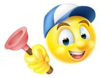 Fontanero Emoji Emoticon con el émbolo Imágenes de archivo libres de regalías