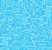 Fontanero, fondo, herramienta inconsútil, sanitaria, azul Imágenes de archivo libres de regalías