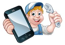 Fontanero Handyman Phone Concept del mecánico Stock de ilustración