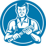 Fontanero Holding Wrench Circle retro libre illustration