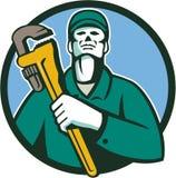 Fontanero Holding Wrench Circle retro stock de ilustración