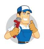 Fontanero que sostiene una llave de tubo dentro de la forma del círculo stock de ilustración
