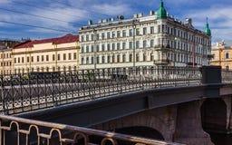 Fontanka河的桥梁在圣彼得堡 免版税库存照片