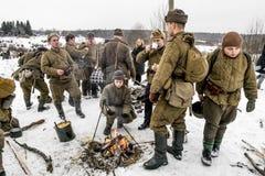 fontanka Πετρούπολη rriver Ρωσία ST 25 Ιανουαρίου 2015 Στρατιώτες του σοβιετικού Στοκ Φωτογραφία