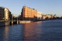 Fontanka. Apartment houses MM Sinful and VG Kudryavtseva. Little Kalinkin bridge. St. Petersburg. Russia. Royalty Free Stock Image