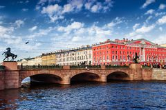 Fontanka canal in Saint Petersburg, Russia. Bridge across Fontanka canal in Saint Petersburg, Russia Stock Photo