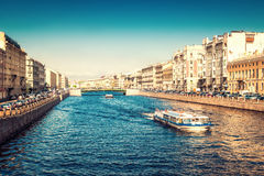 Fontanka canal in sunny day in Saint Petersburg Stock Images