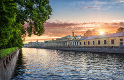 Fontanka at dawn. Fontanka River in the glow of the rising sun Stock Photos