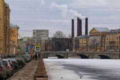 Fontanka Embankment in winter. St. Petersburg, Russia - February 14, 2016: Winter view from the embankment of the Fontanka River in the Obukhov Bridge and Stock Photography