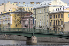 Fontanka river embankment, bridge, building in a classic style w Stock Photo