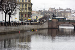 Fontanka river embankment, view of Saint Petersburg, buildings, stock photos