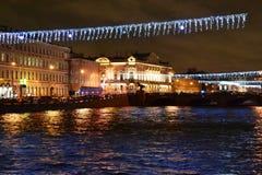 Fontanka river at night Stock Images