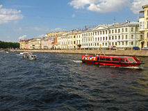 The Fontanka river. Saint Petersburg, Russia. The boats on the Fontanka river. City center. Tourism in Saint Petersburg. Journey Stock Images