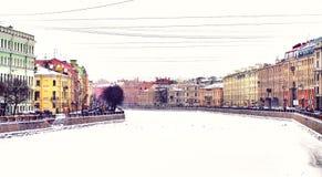 Fontanka river at winter. Fontanka river and its embankment in Saint-Petersburg, Russia at winter Stock Image
