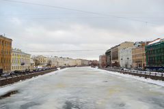 Fontanka river at winter, St.Petersburg royalty free stock image