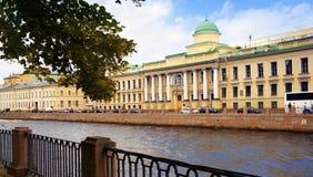 Fontanka rzeczny bulwar w Świątobliwym Petersburg Obrazy Royalty Free