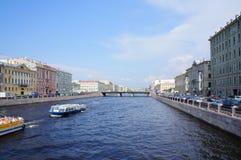 Fontanka rzeka w Świątobliwym Petersburg Fotografia Royalty Free