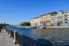 fontanka rzeki bulwar Obrazy Royalty Free