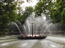Fontanna «The Sun «w niskim parku Peterhof zdjęcia royalty free