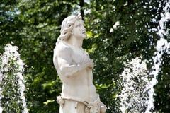 Fontanna Adam w niskim parku Peterhof Peterhof, Petersburg, Rosja Zdjęcia Royalty Free