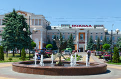 Fontanna bociany przy Privokzalnaya kwadratową pobliską stacją kolejową, Gomel fotografia stock