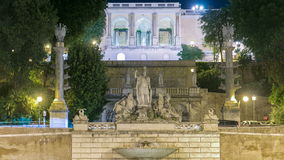Fontanna Dea Roma timelapse w piazza Del Popolo z Pincio tarasem w tle zbiory wideo