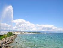 Fontanna, Genewa, Jeziorny Genewa, Szwajcaria Obraz Royalty Free