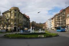Fontanna i gołąb zdjęcie royalty free