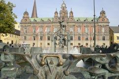 Fontanna i urząd miasta w Malmo obraz royalty free