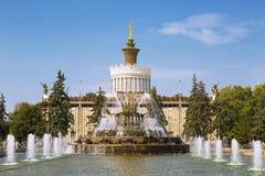 Fontanna kamienia kwiat przeciw tłu pawilonu Ukraina wystawa osiągnięcia narodowa gospodarka Obraz Stock