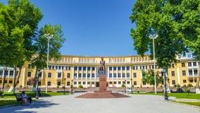 Fontanna na kwadracie rosyjska poeta Pushkin Aleksander Sergeevich zdjęcie royalty free