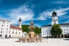 Fontanna na Residenzplatz Obrazy Royalty Free