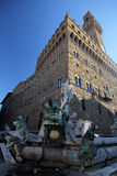 Fontanna Neptune z Palazzo Vecchio w Florencja Fotografia Stock