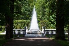 Fontanna ostrosłup w Niskim parku Peterhof Peterhof, Petersburg, Rosja Obraz Royalty Free