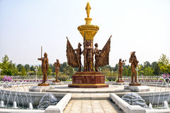 Fontanna przed Kumsusan pałac słońce Pyongyang, DPRK - Północny Korea Fotografia Stock