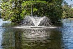 Fontanna przy Łabędzimi Jeziornymi Irysowymi ogródami, Sumter, SC Fotografia Stock
