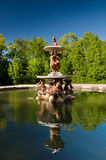 Fontanna przy pałac uprawia ogródek przy losem angeles Granja De San Ildefonso, Segovia, Hiszpania Zdjęcie Stock
