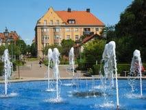 Fontanna przy wejściem Tradgardsforeningen. Linkoping. Szwecja fotografia royalty free