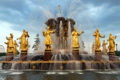 Fontanna przyjaźń Zaludnia w VDNH w Moskwa Fotografia Stock