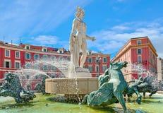 Fontanna słońce w Ładnym, Francja Obrazy Royalty Free