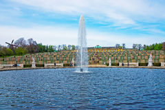 Fontanna, Sanssouci taras i pałac i uprawiamy ogródek w Potsdam obrazy stock
