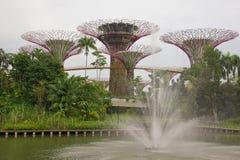 Fontanna w ogródach Marina i Singapur ulotką Zdjęcie Stock