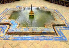 Fontanna, w parku Maria Luisa Seville, Hiszpania obraz royalty free