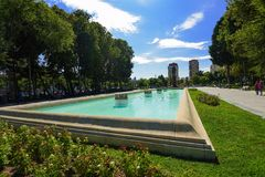 Fontanna w Samed Vurgun parku w Baku Obrazy Stock
